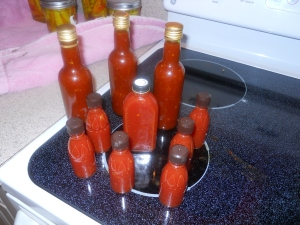A batch of brightly colored Datil Devil Sauce. Photo credit: Words Etc.